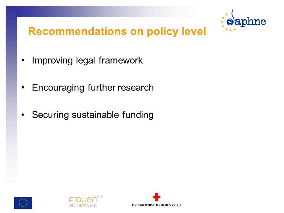 Recommendations on policy level Improving legal framework Encouraging further research Securing sustainable funding