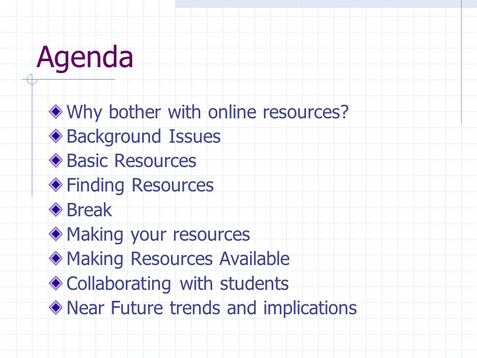 Agenda Why bother with online resources? Background Issues Basic Resources Finding Resources Break Making your resources Making Resources Available Co