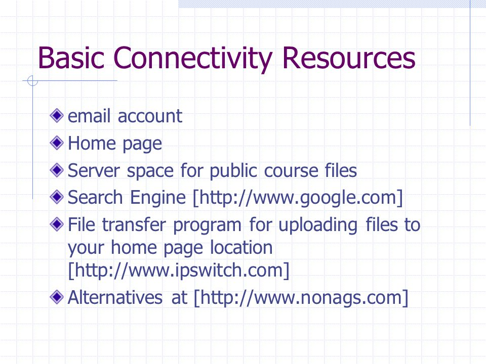 Basic Connectivity Resources email account Home page Server space for public course files Search Engine [http://www.google.com] File transfer program