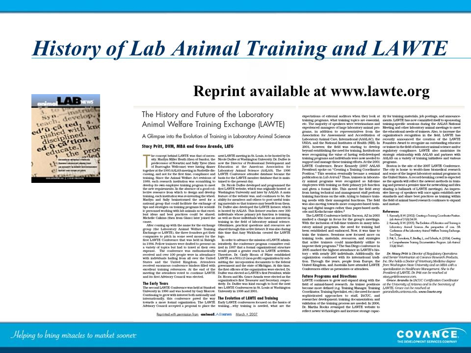 History of Lab Animal Training and LAWTE Reprint available at www.lawte.org