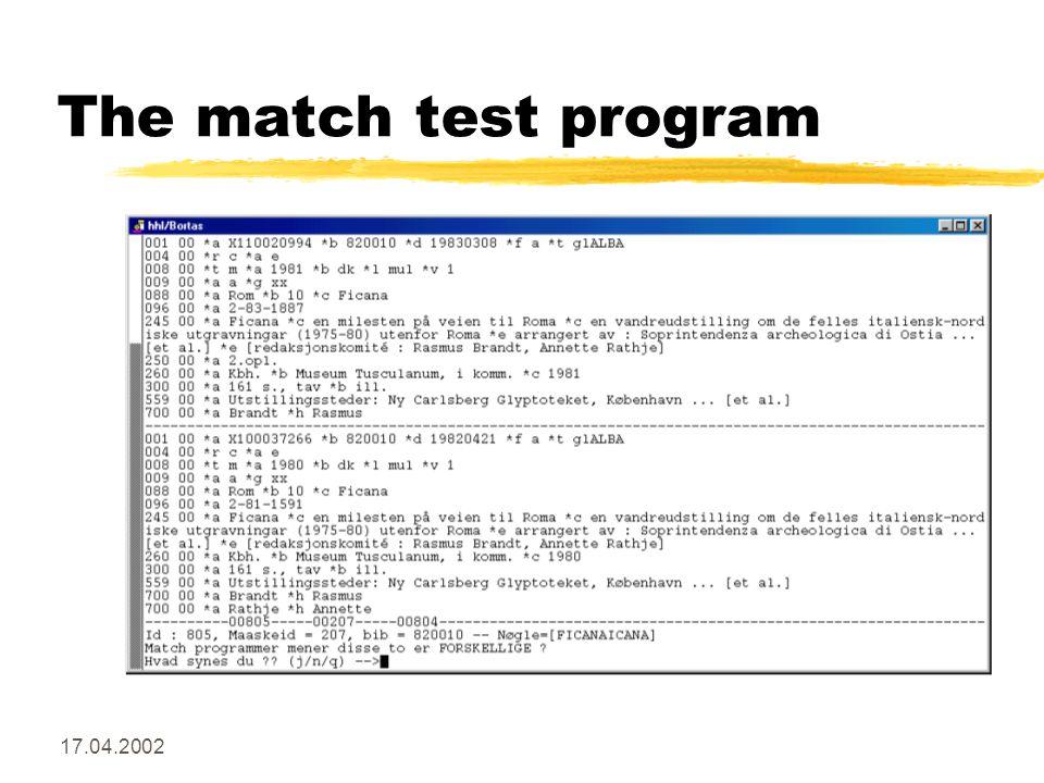 17.04.2002 The match test program