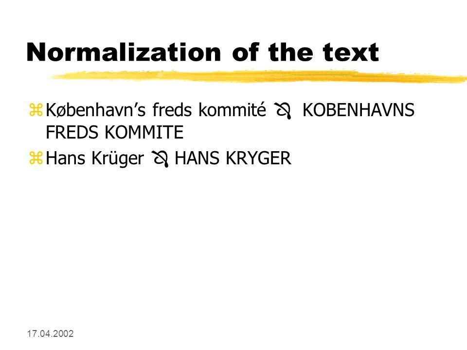 17.04.2002 Normalization of the text zKøbenhavn's freds kommité  KOBENHAVNS FREDS KOMMITE zHans Krüger  HANS KRYGER