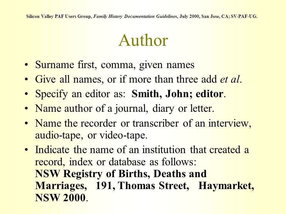 Author Surname first, comma, given names Give all names, or if more than three add et al. Specify an editor as: Smith, John; editor. Name author of a