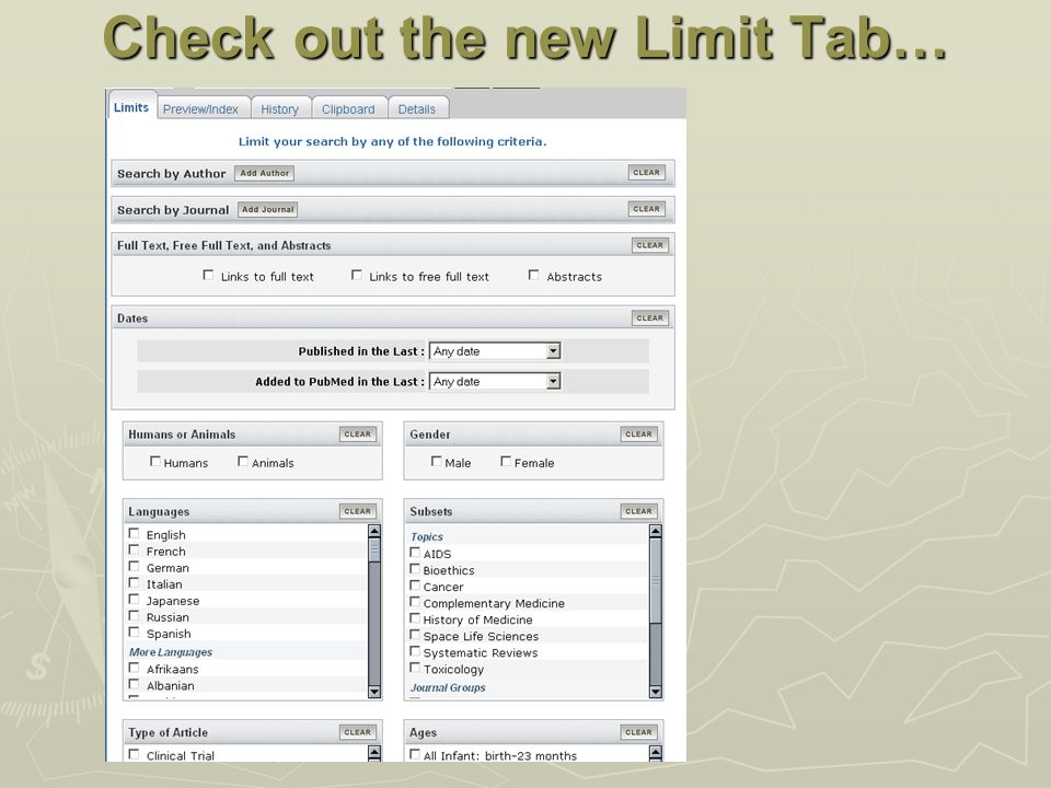Check out the new Limit Tab…