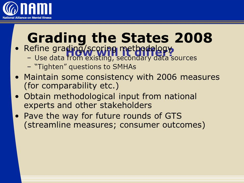 Grading the States 2008 How will it differ.