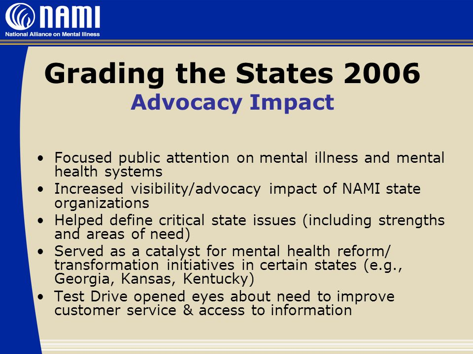Grading the States 2006 Advocacy Impact Focused public attention on mental illness and mental health systems Increased visibility/advocacy impact of NAMI state organizations Helped define critical state issues (including strengths and areas of need) Served as a catalyst for mental health reform/ transformation initiatives in certain states (e.g., Georgia, Kansas, Kentucky) Test Drive opened eyes about need to improve customer service & access to information
