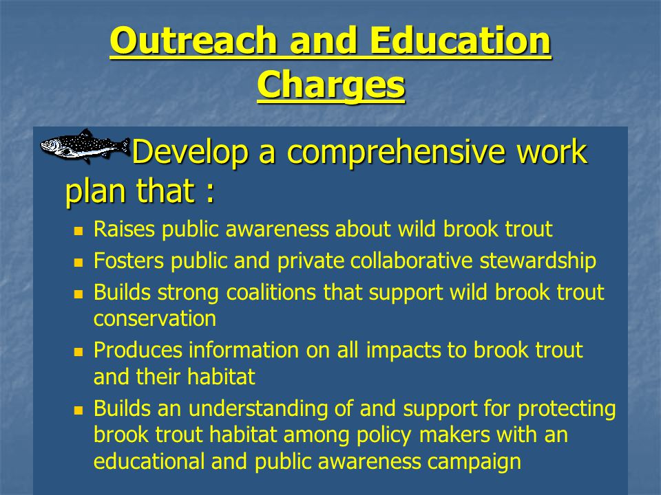 Outreach and Education Charges Develop a comprehensive work plan that : Raises public awareness about wild brook trout Fosters public and private collaborative stewardship Builds strong coalitions that support wild brook trout conservation Produces information on all impacts to brook trout and their habitat Builds an understanding of and support for protecting brook trout habitat among policy makers with an educational and public awareness campaign