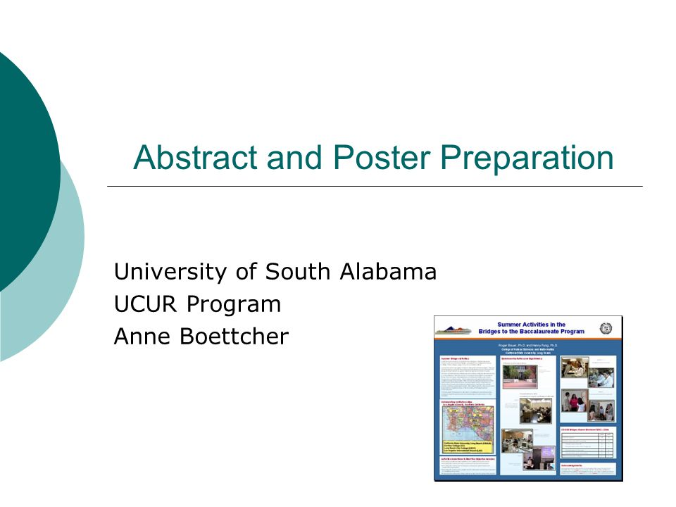 Abstract and Poster Preparation University of South Alabama UCUR Program Anne Boettcher