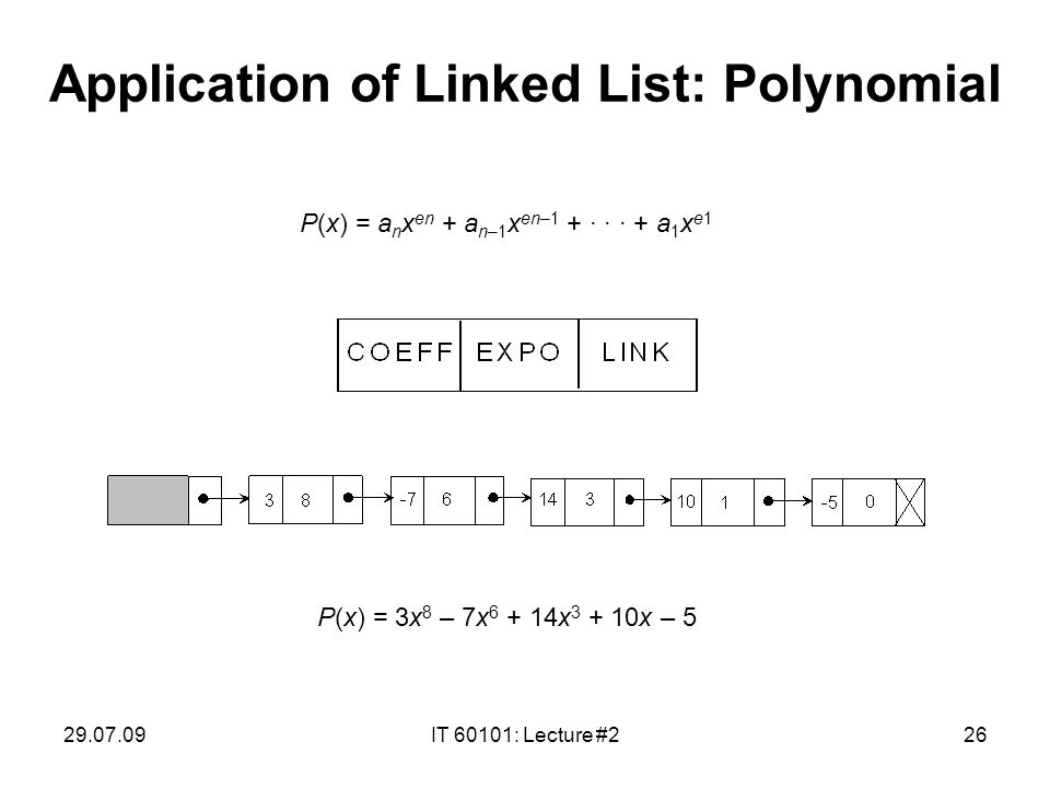 29.07.09IT 60101: Lecture #226 Application of Linked List: Polynomial P(x) = a n x en + a n–1 x en–1 + · · · + a 1 x e1 P(x) = 3x 8 – 7x 6 + 14x 3 + 10x – 5