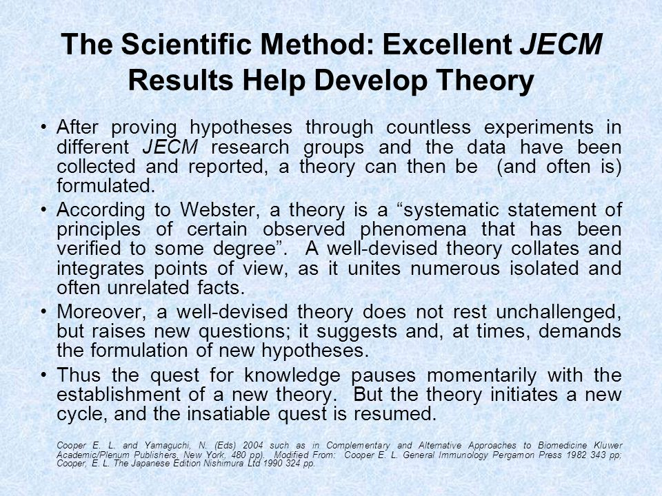 The Scientific Method: Excellent JECM Results Help Develop Theory After proving hypotheses through countless experiments in different JECM research gr
