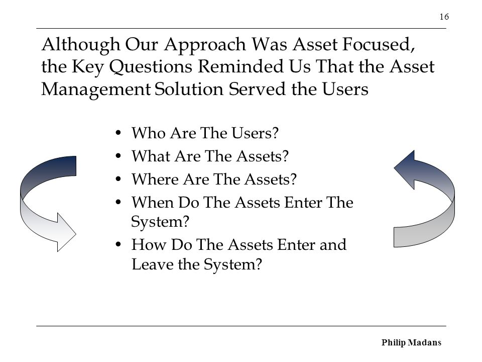 Philip Madans 16 Although Our Approach Was Asset Focused, the Key Questions Reminded Us That the Asset Management Solution Served the Users Who Are The Users.