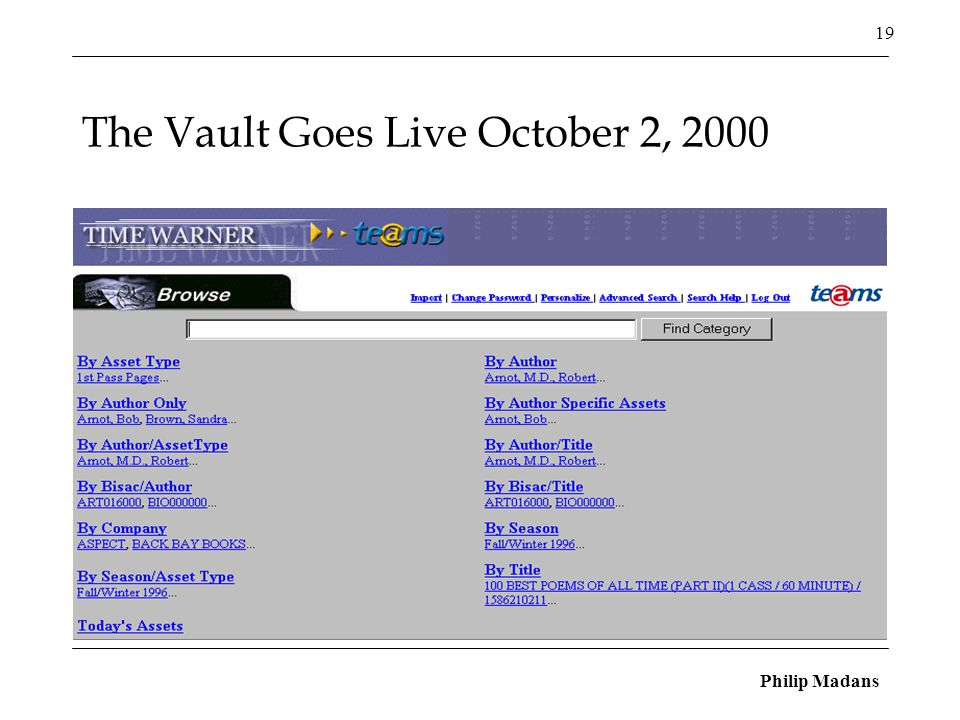 Philip Madans 19 The Vault Goes Live October 2, 2000