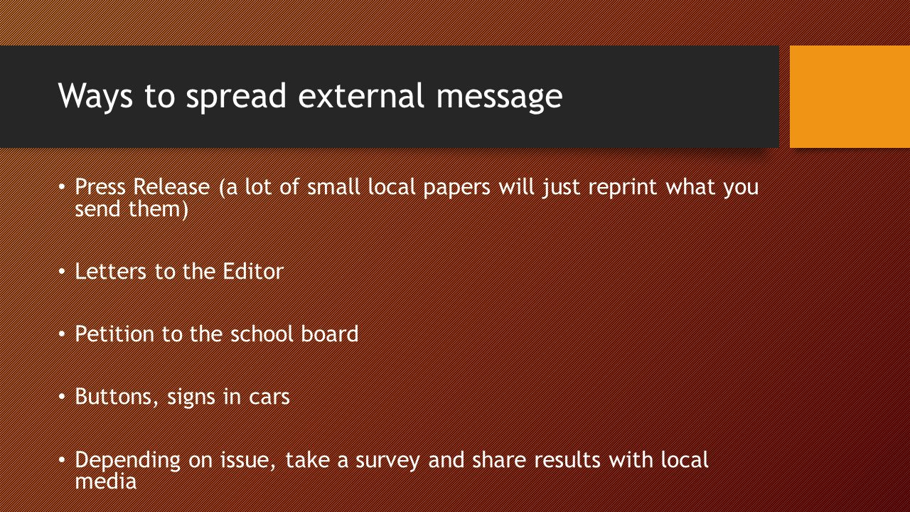 Ways to spread external message Press Release (a lot of small local papers will just reprint what you send them) Letters to the Editor Petition to the school board Buttons, signs in cars Depending on issue, take a survey and share results with local media