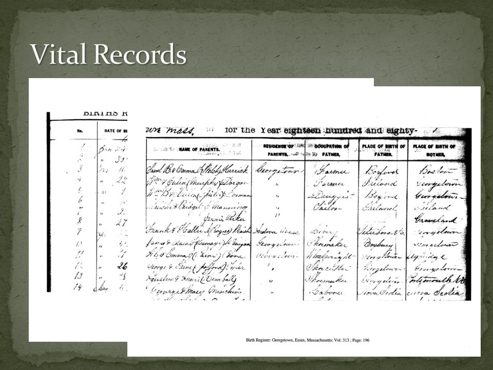 Massachusetts Birth, Marriage, Death Records No other state in the union has the same depth of vital records 200 out of 364 towns have all the vital records to 1850 published.