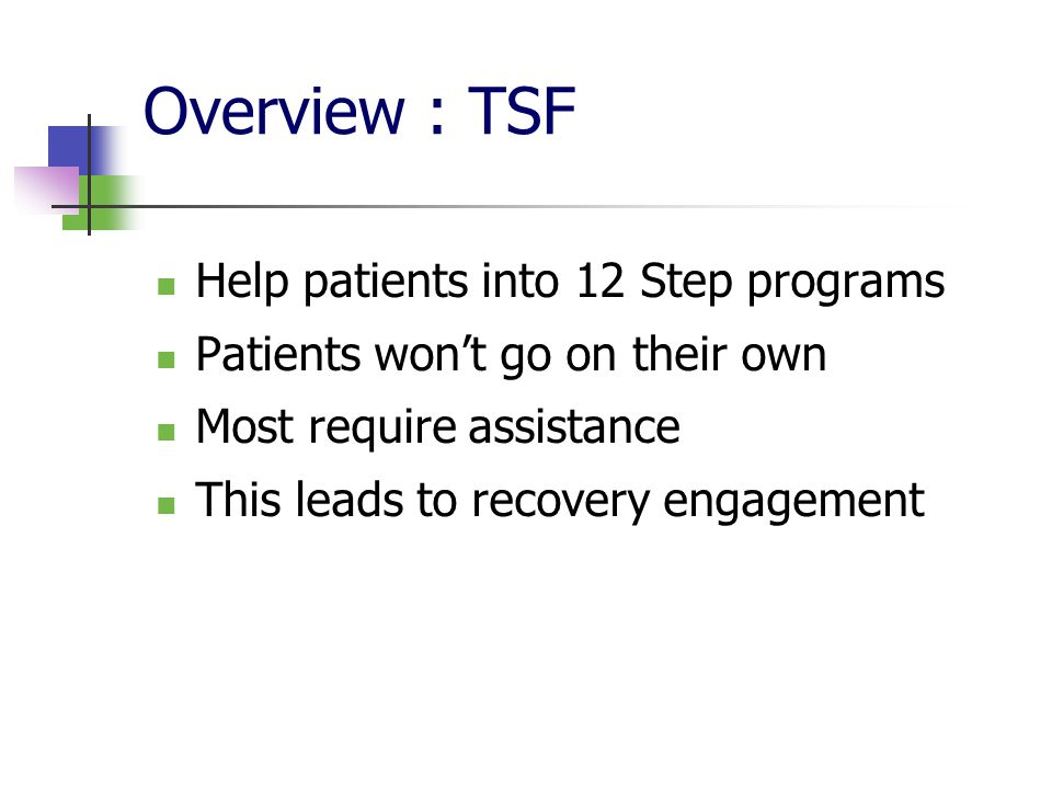 Overview : TSF Help patients into 12 Step programs Patients won't go on their own Most require assistance This leads to recovery engagement