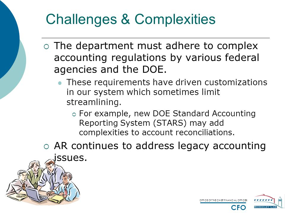 OFFICE OF THE CHIEF FINANCIAL OFFICER CFO Challenges & Complexities  The department must adhere to complex accounting regulations by various federal