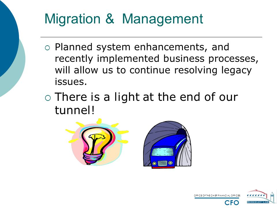 OFFICE OF THE CHIEF FINANCIAL OFFICER CFO Migration & Management  Planned system enhancements, and recently implemented business processes, will allow us to continue resolving legacy issues.