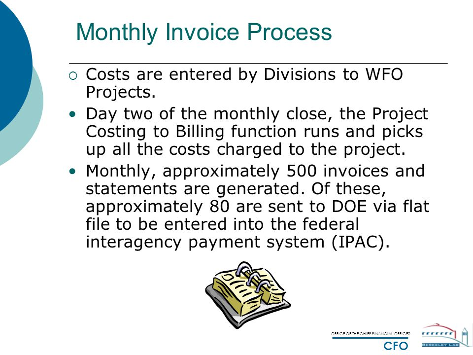 OFFICE OF THE CHIEF FINANCIAL OFFICER CFO Monthly Invoice Process  Costs are entered by Divisions to WFO Projects.