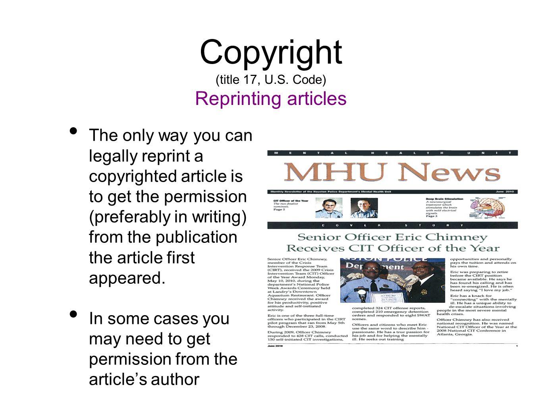 Copyright (title 17, U.S.
