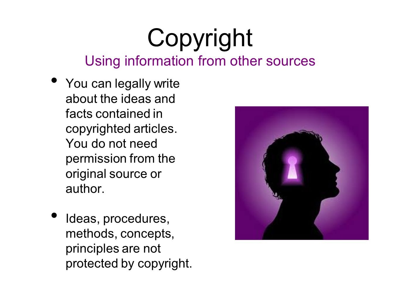 Copyright Using information from other sources You can legally write about the ideas and facts contained in copyrighted articles. You do not need perm