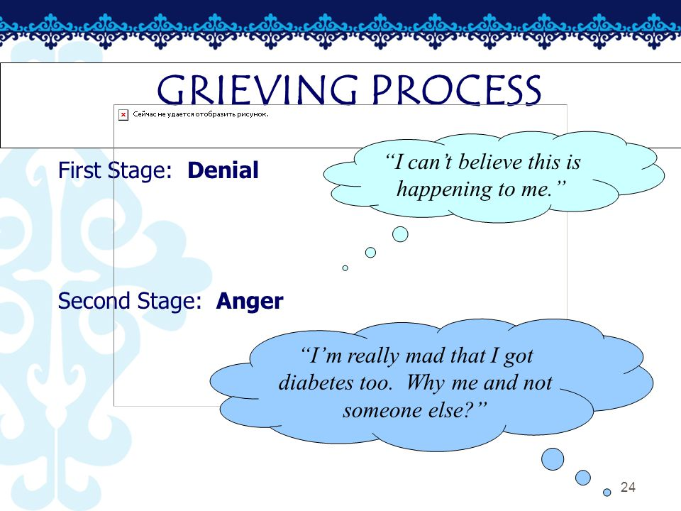 24 GRIEVING PROCESS First Stage: Denial Second Stage: Anger I can't believe this is happening to me. I'm really mad that I got diabetes too.