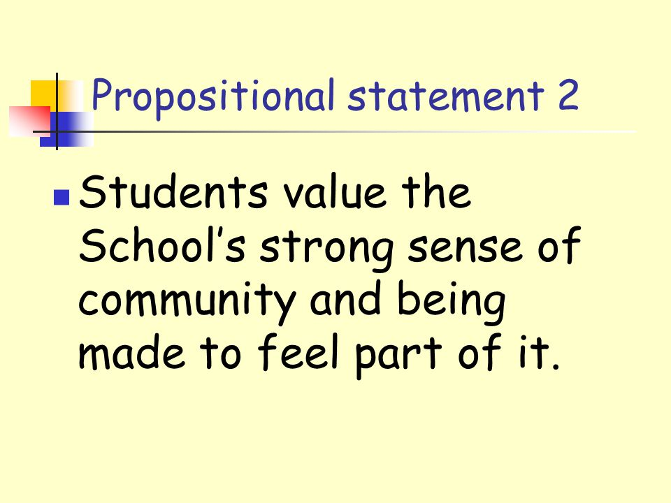 Propositional statement 2 Students value the School's strong sense of community and being made to feel part of it.