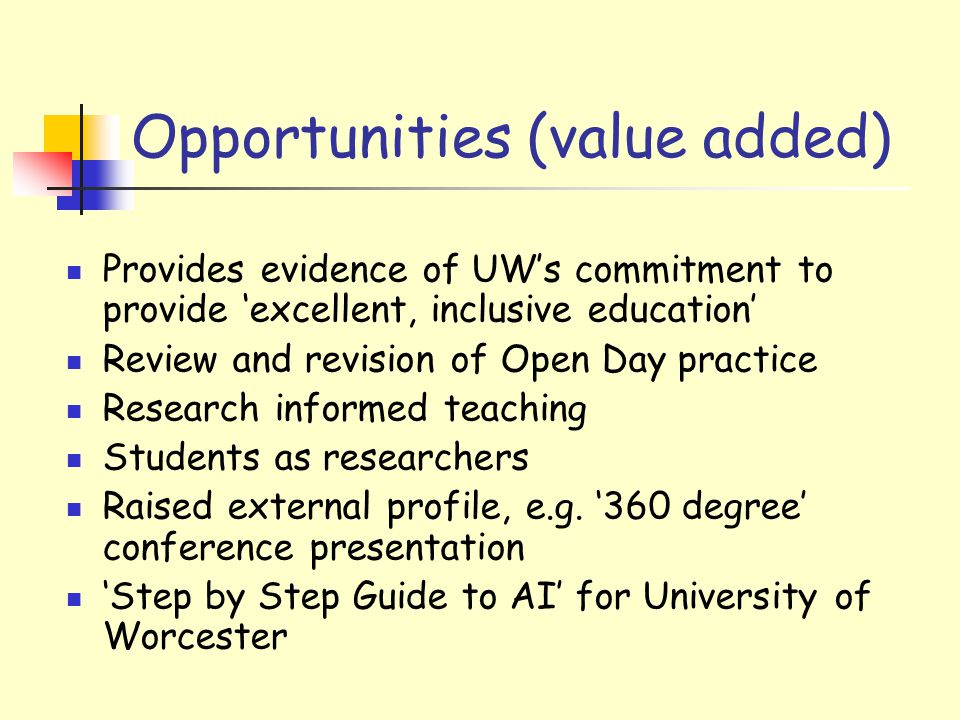 Opportunities (value added) Provides evidence of UW's commitment to provide 'excellent, inclusive education' Review and revision of Open Day practice Research informed teaching Students as researchers Raised external profile, e.g.
