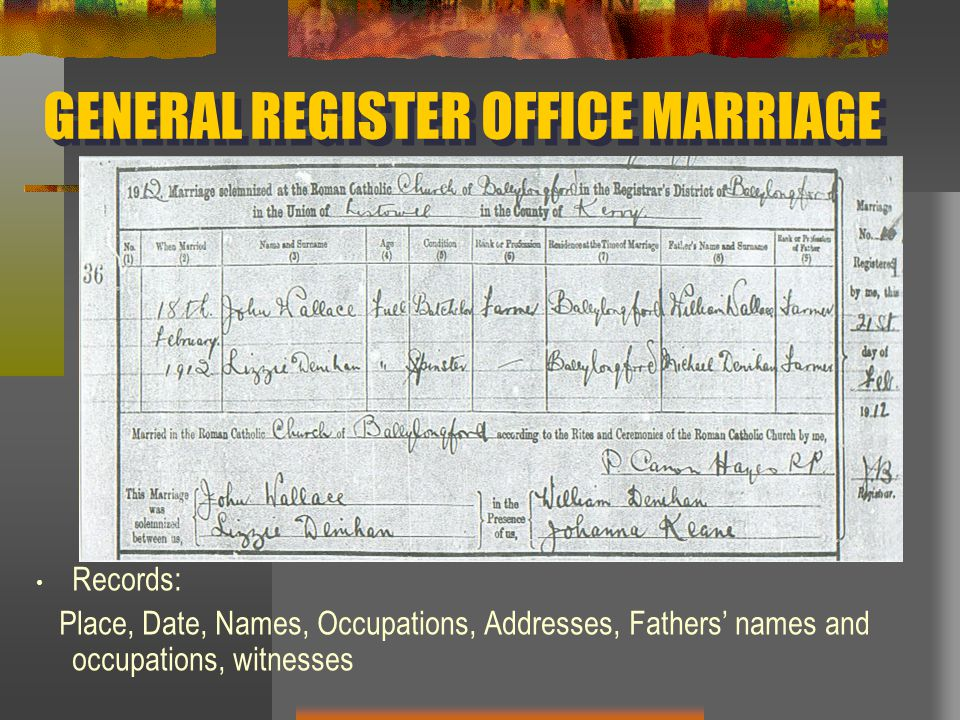 GENERAL REGISTER OFFICE MARRIAGE Records: Place, Date, Names, Occupations, Addresses, Fathers' names and occupations, witnesses