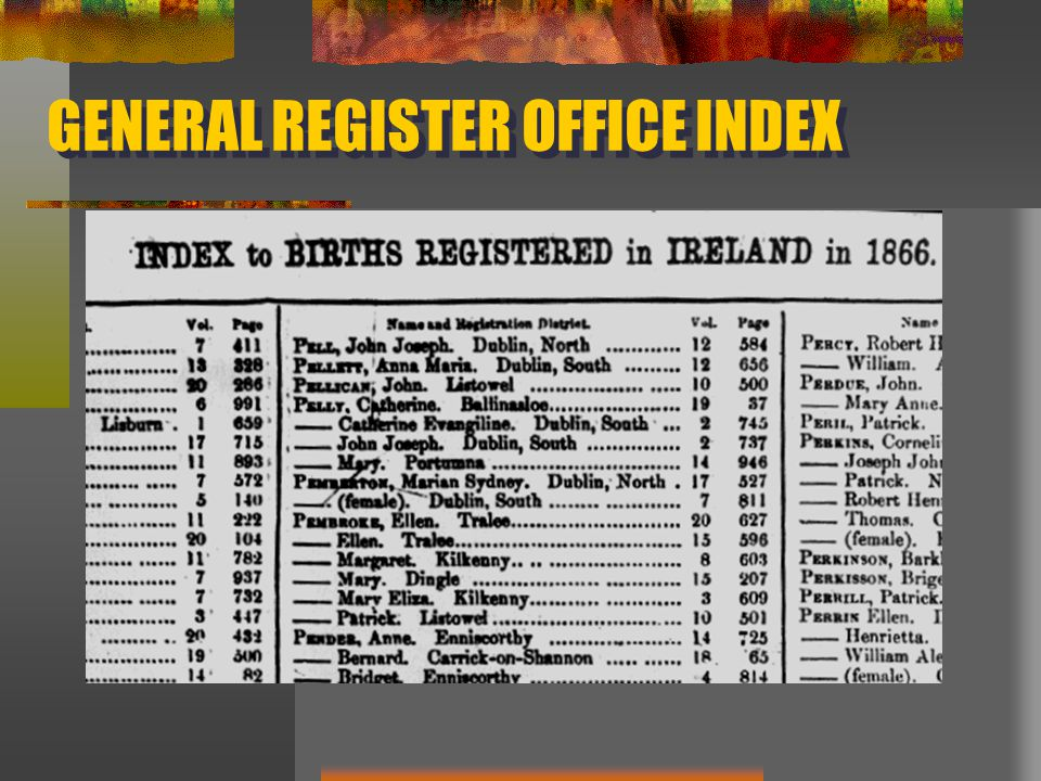 GENERAL REGISTER OFFICE INDEX