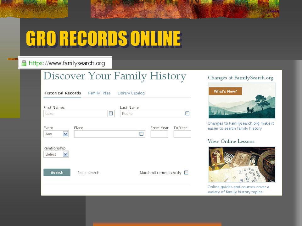 GRO RECORDS ONLINE