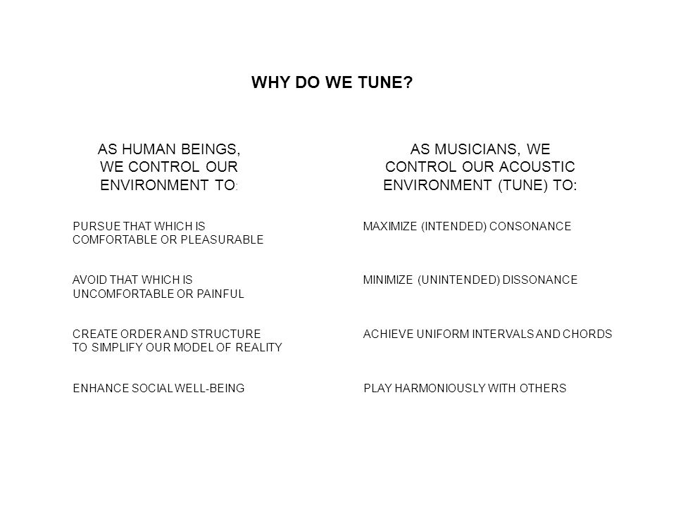 WHY DO WE TUNE.