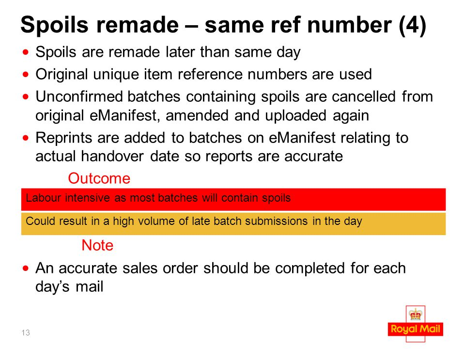 Spoils remade – same ref number (4) Spoils are remade later than same day Original unique item reference numbers are used Unconfirmed batches containi