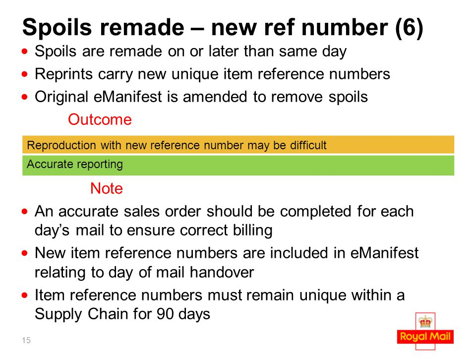 Spoils remade – new ref number (6) Spoils are remade on or later than same day Reprints carry new unique item reference numbers Original eManifest is