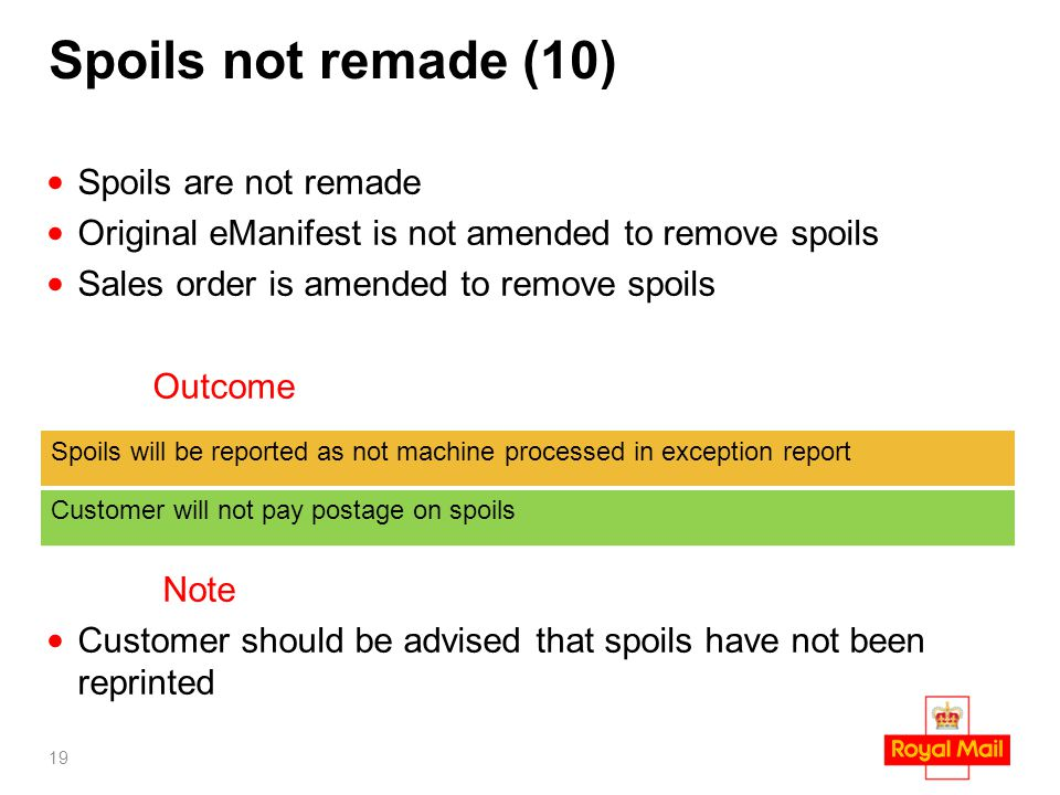 Spoils not remade (10) Spoils are not remade Original eManifest is not amended to remove spoils Sales order is amended to remove spoils Outcome Note C