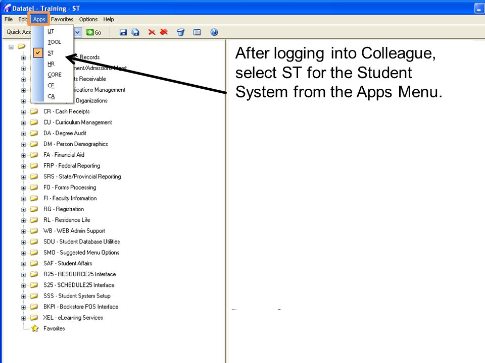 Type RGST in the Quick Access text box and click go to access the RGST screen.