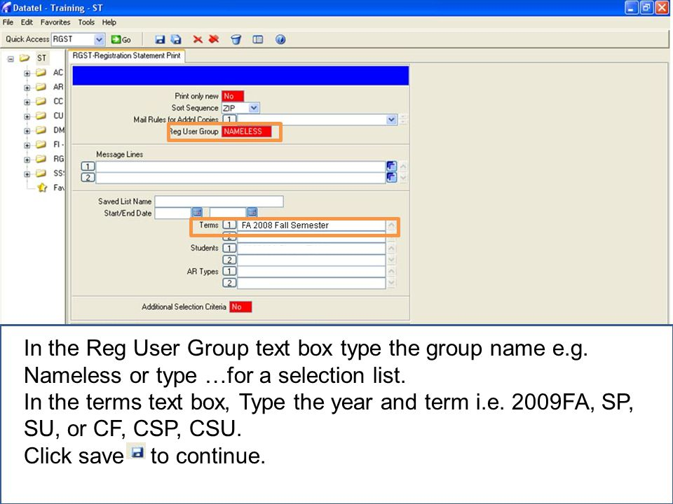 In the Reg User Group text box type the group name e.g.