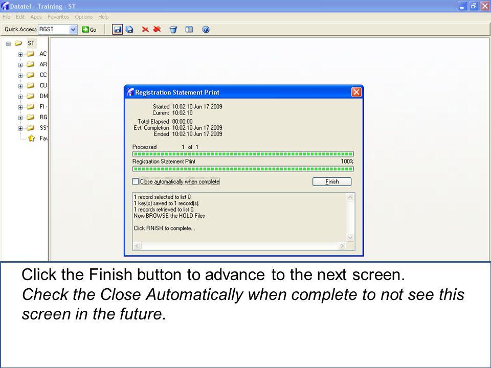 Click print to print a registration statement.A printer setup box will display.
