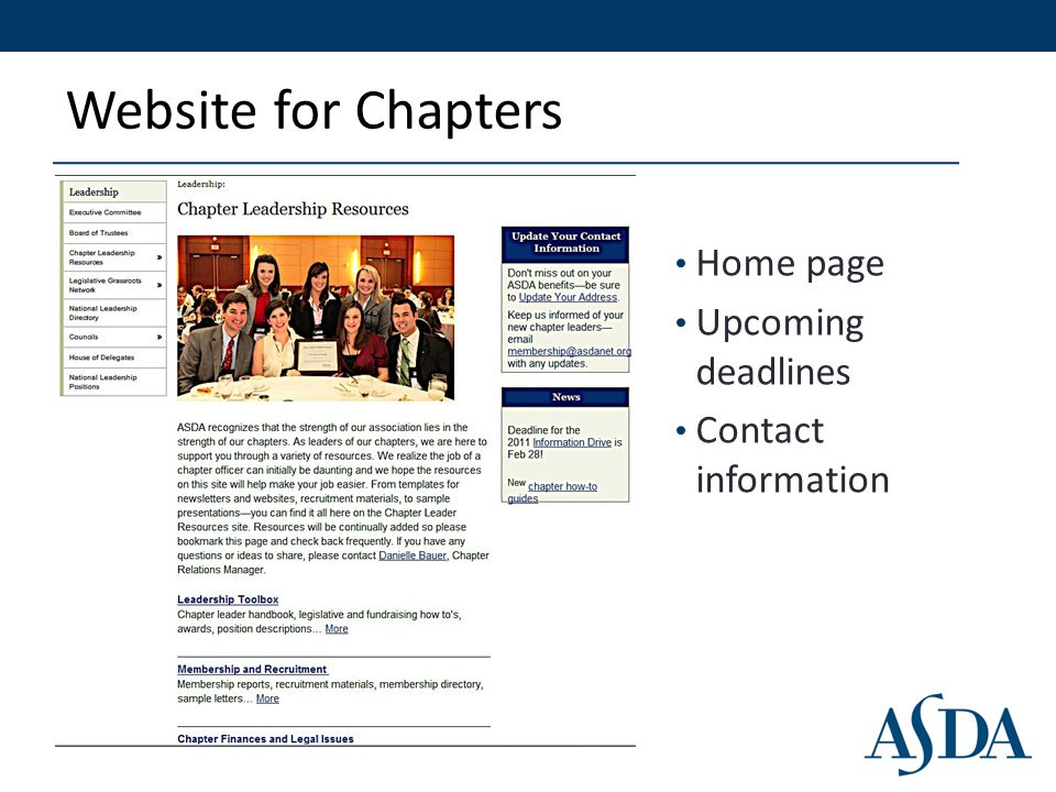 Website for Chapters Home page Upcoming deadlines Contact information