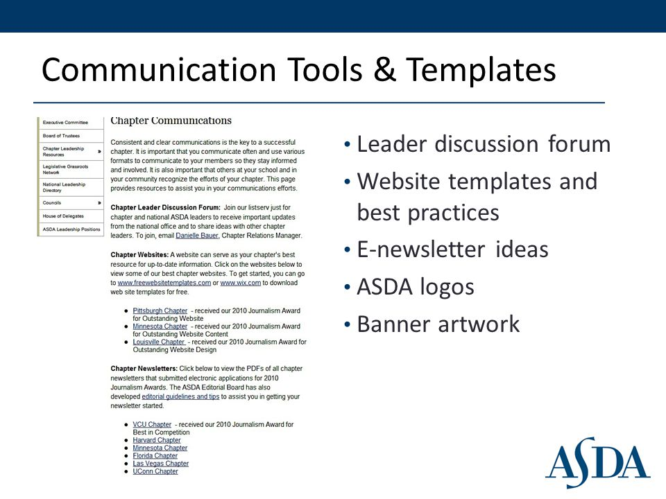 Communication Tools & Templates Leader discussion forum Website templates and best practices E-newsletter ideas ASDA logos Banner artwork