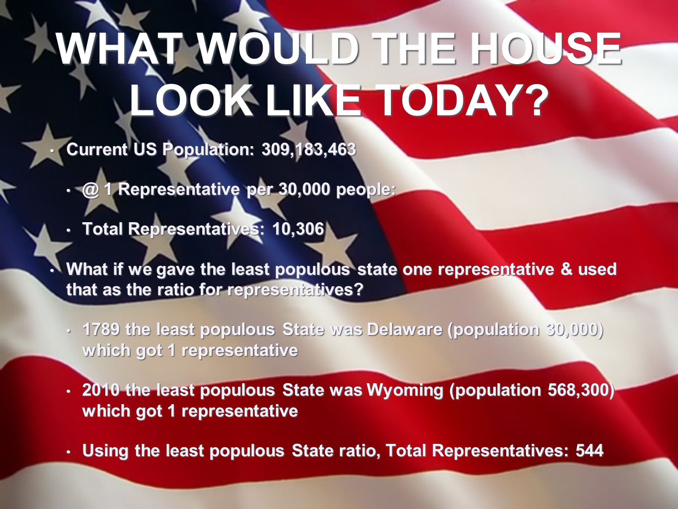 WHAT WOULD THE HOUSE LOOK LIKE TODAY? Current US Population: 309,183,463 Current US Population: 309,183,463 @ 1 Representative per 30,000 people: @ 1
