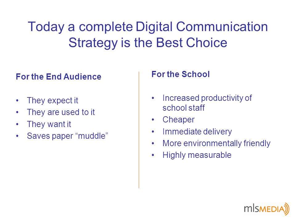 Today a complete Digital Communication Strategy is the Best Choice For the End Audience They expect it They are used to it They want it Saves paper muddle For the School Increased productivity of school staff Cheaper Immediate delivery More environmentally friendly Highly measurable