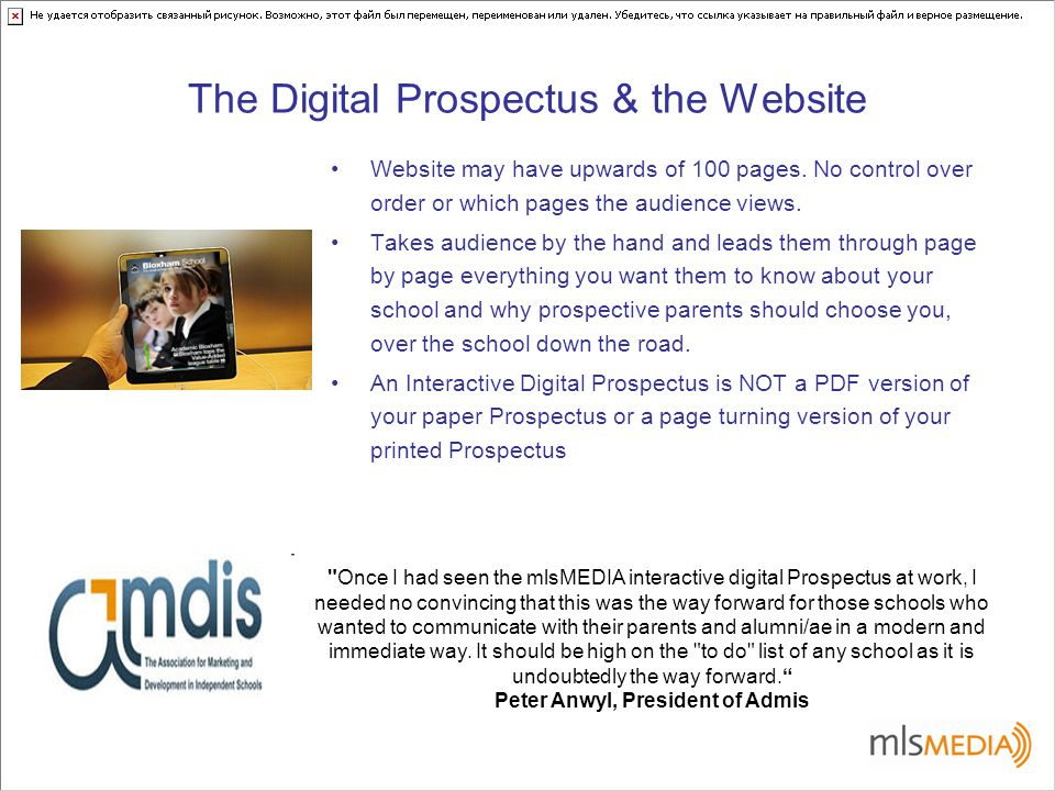 The Digital Prospectus & the Website Website may have upwards of 100 pages.