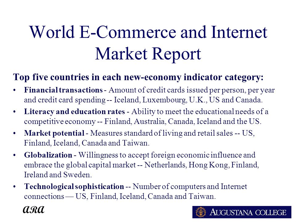ARA World E-Commerce and Internet Market Report Top five countries in each new-economy indicator category: Financial transactions - Amount of credit cards issued per person, per year and credit card spending -- Iceland, Luxembourg, U.K., US and Canada.