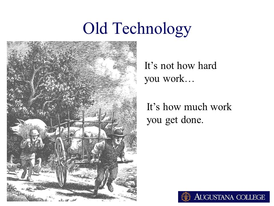 ARA Old Technology It's not how hard you work… It's how much work you get done.