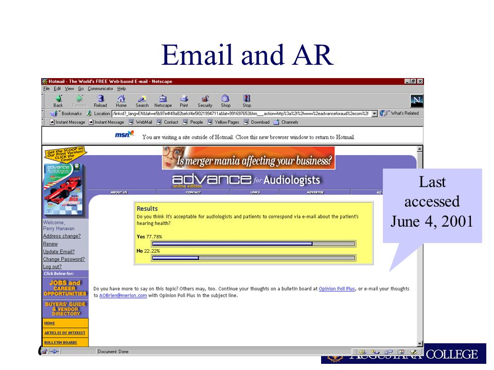 ARA Email and AR Last accessed June 4, 2001