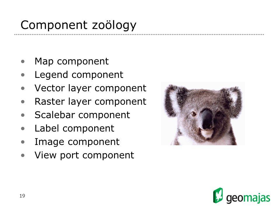 19 Component zoölogy Map component Legend component Vector layer component Raster layer component Scalebar component Label component Image component View port component