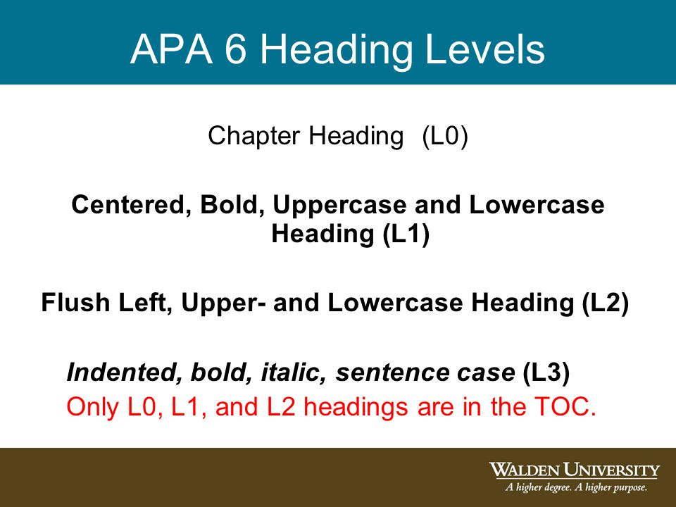 APA 6 Heading Levels Chapter Heading (L0) Centered, Bold, Uppercase and Lowercase Heading (L1) Flush Left, Upper- and Lowercase Heading (L2) Indented, bold, italic, sentence case (L3) Only L0, L1, and L2 headings are in the TOC.