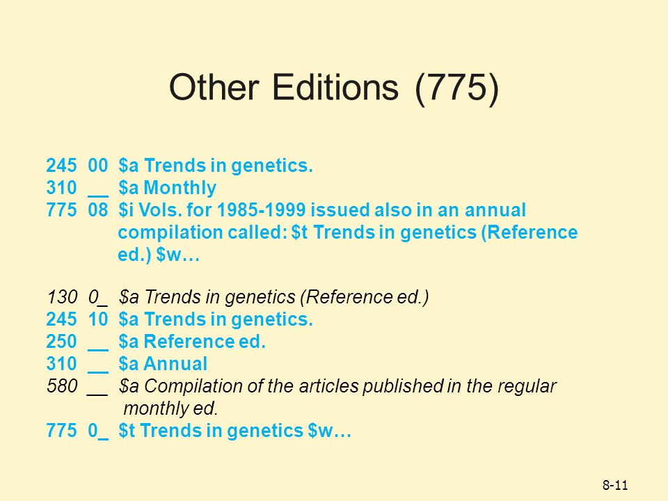 8-11 Other Editions (775) 245 00 $a Trends in genetics.