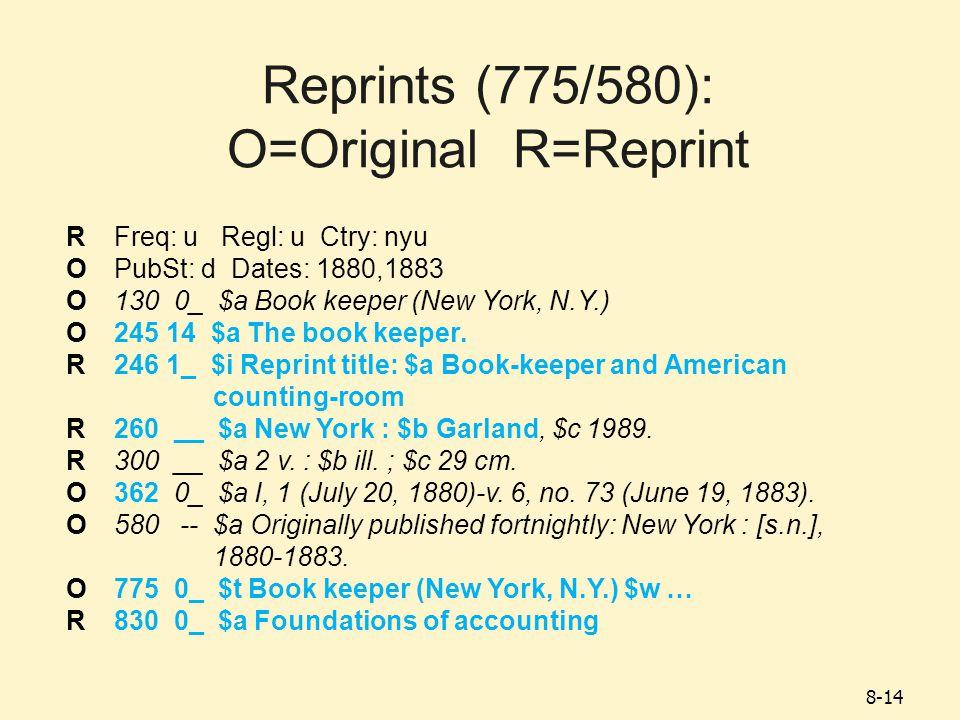 8-14 Reprints (775/580): O=Original R=Reprint RFreq: u Regl: u Ctry: nyu OPubSt: d Dates: 1880,1883 O130 0_ $a Book keeper (New York, N.Y.) O245 14 $a The book keeper.