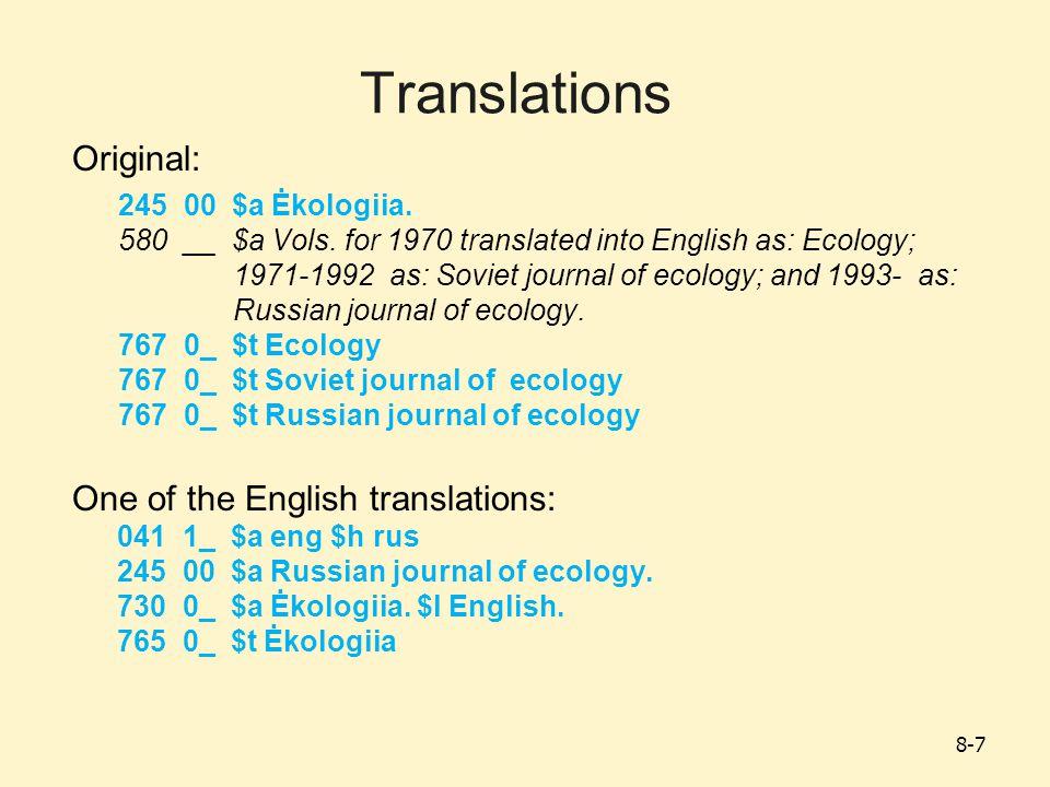 Translations Original: 245 00 $a Ėkologiia. 580 __ $a Vols.